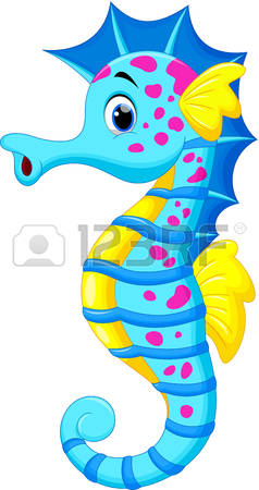 seahorse: Vector illustration of cute seahorse cartoon
