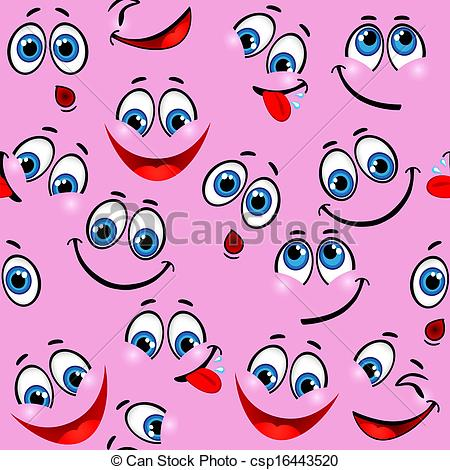 Seamless pattern - funny faces .