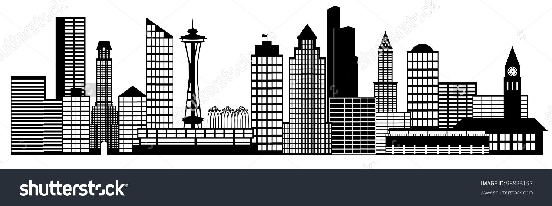 Seattle City Washington Skyline Panorama Black And White Silhouette