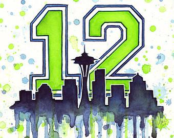 Seattle Seahawks Super Bowl Clip Art | Seattle Seahawks 12th Man Fan Art,  Watercolor,