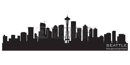 seattle: Seattle, Washington skyline Detailed silhouette