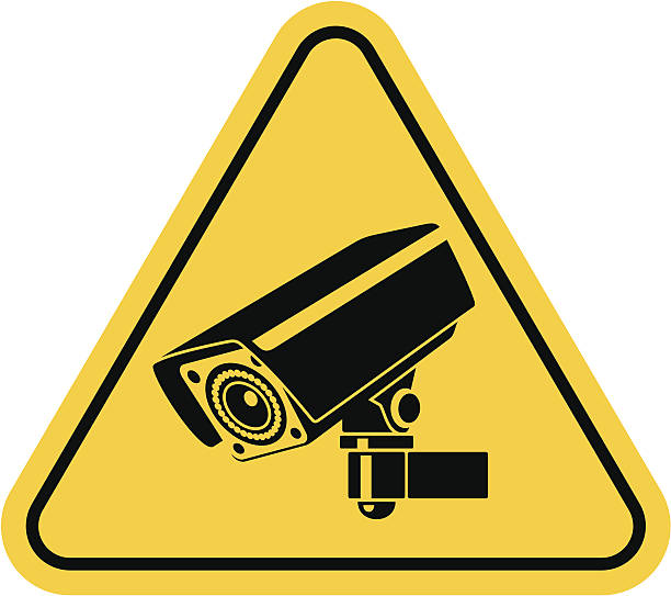 Video surveillance sign. CCTV Camera. vector art illustration