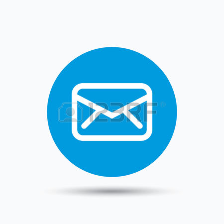 Send email message sign. Internet mailing symbol. Blue circle button with