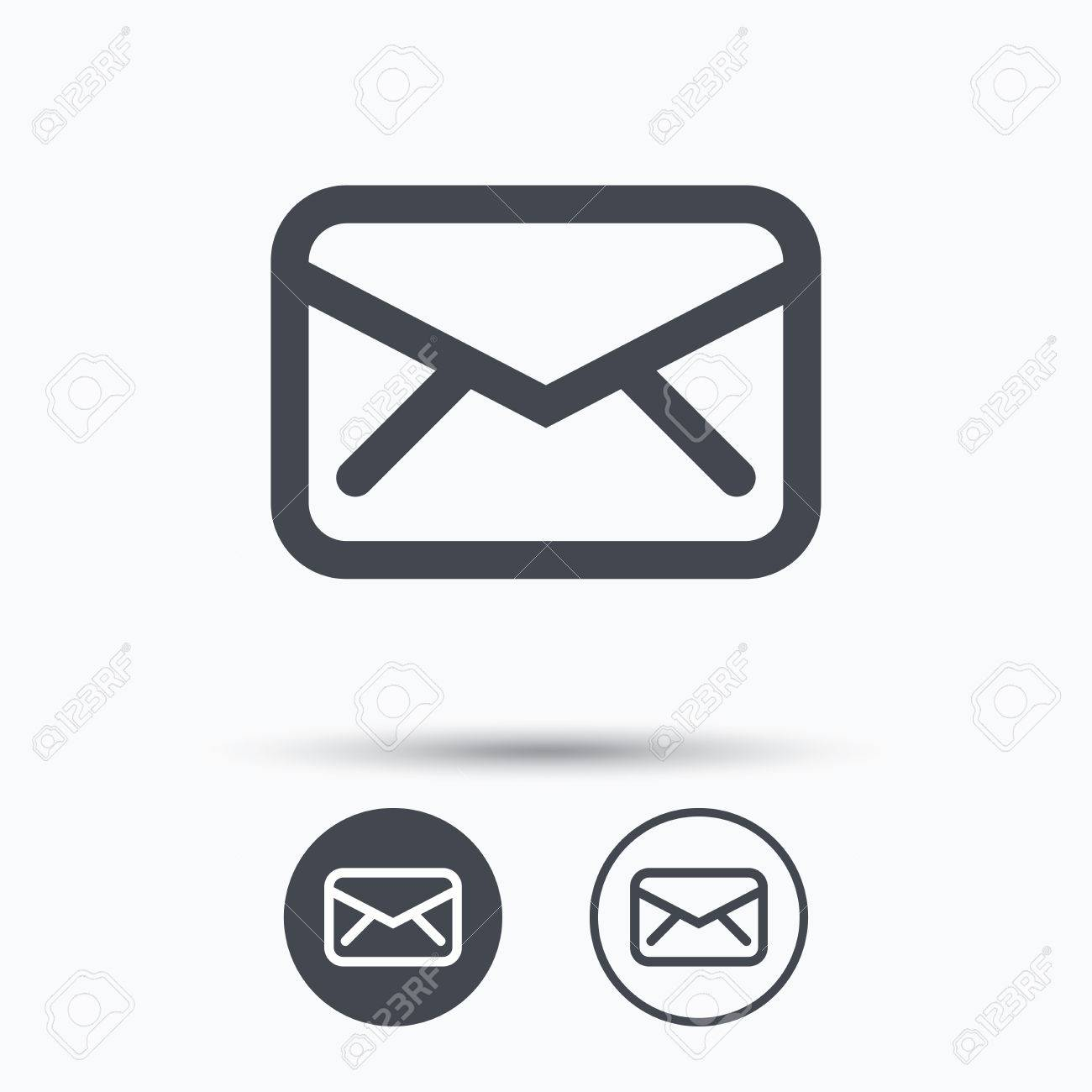 Send email message sign. Internet mailing symbol. Circle buttons with flat