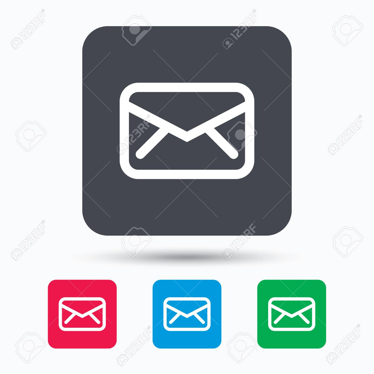 Send email message sign. Internet mailing symbol. Colored square buttons  with