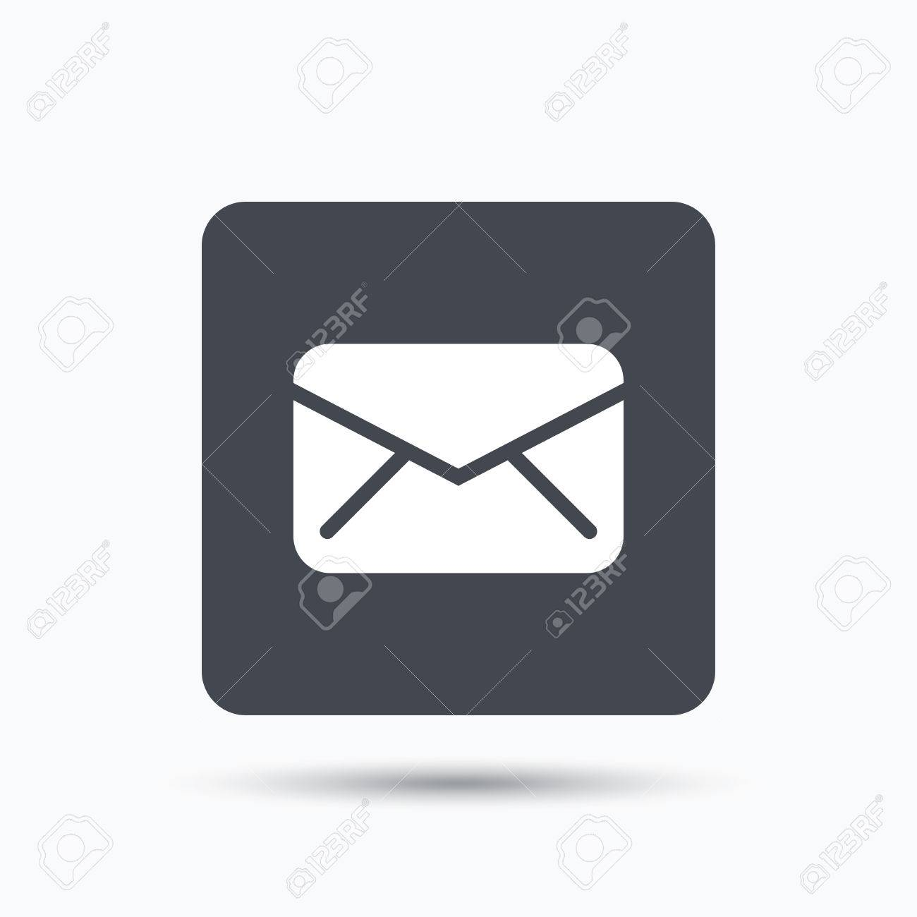 Send email message sign. Internet mailing symbol. Gray square button with