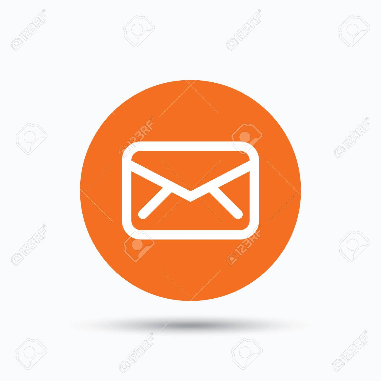Send email message sign. Internet mailing symbol. Orange circle button with