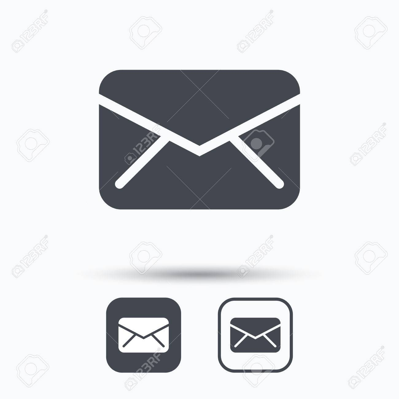 Send email message sign. Internet mailing symbol. Square buttons with flat