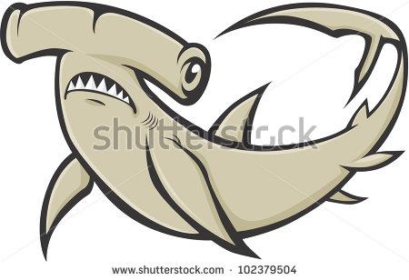 Serious Hammerhead Shark Illustration