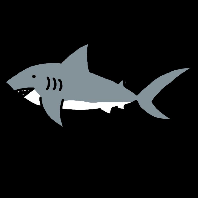 Shark Clip Art Black And White .