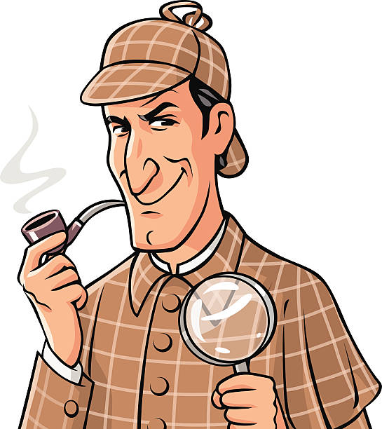Investigator With Pipe And Magnifying Glass vector art illustration. Sherlock  Holmes Clip Art hdclipartall.com
