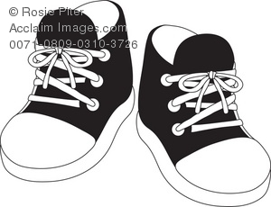 Royalty Free Clipart Illustration of a Pair of Black Childu0027s Tennis Shoes