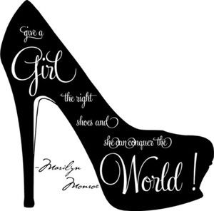 shoe silhouette clip art   Give A Girl The Right Shoes Marilyn Monroe Wall Quote Vinyl