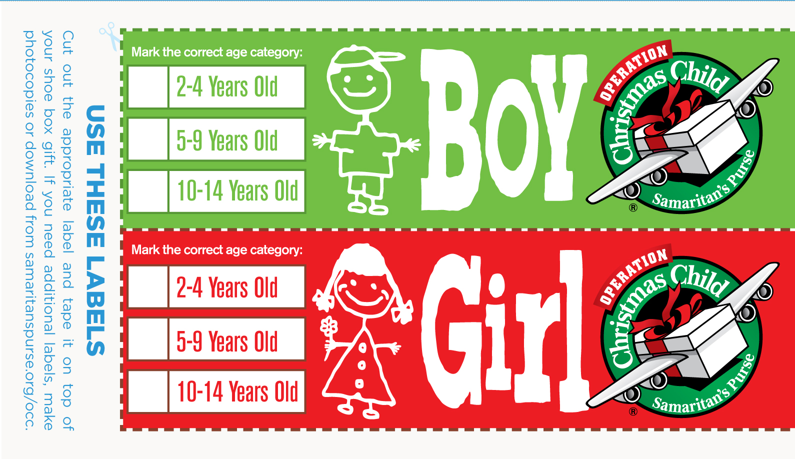 Shoebox Labels - Operation Christmas Child Clipart