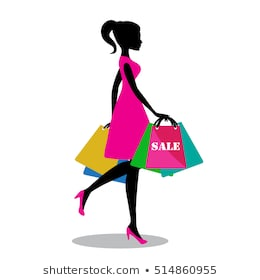 Woman shopping bags. Isolated young beautiful fashion shopper girl  silhouette for sale advertising. Stock