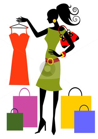 Shopping Woman Stock Vector .