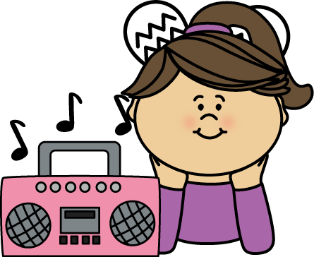 Showing Gallery For Girl Listening To Music Clipart