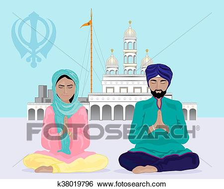 A vector illustration in eps 10 format of a sikh couple praying outside of  a gurdwara temple under a blue sky