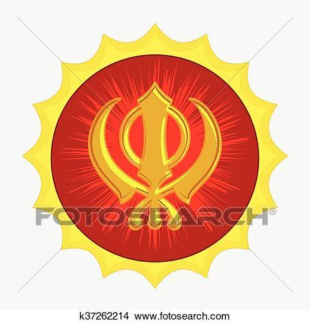 Clipart - Golden Sikhism Symbol Badge. Fotosearch - Search Clip Art,  Illustration Murals,