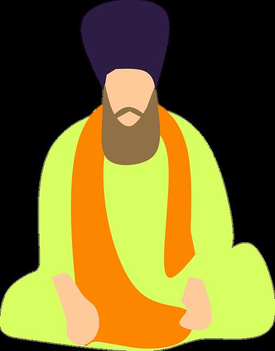 indian sikh turban old sitting