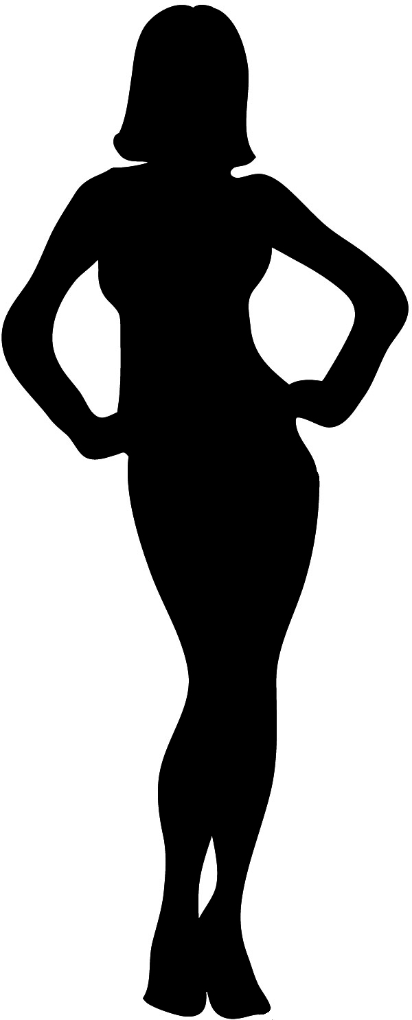 Silhouette of woman outline, female silhouette black with outline ...