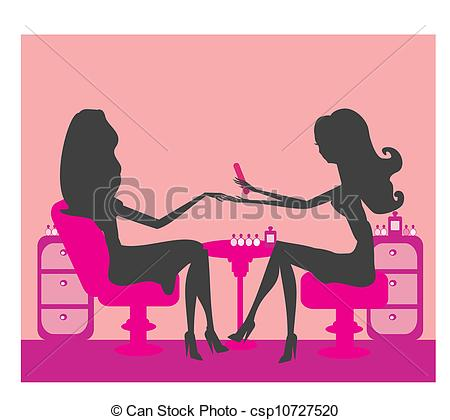 Silhouettes girls in beauty salon Clip Artby ivOlga18/1,372; Young lady doing manicure in beauty salon