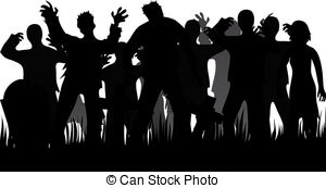 ... Silhouettes of zombies and tombstones isolated on white