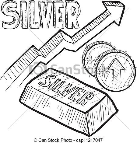 Silver price increase sketch - csp11217047
