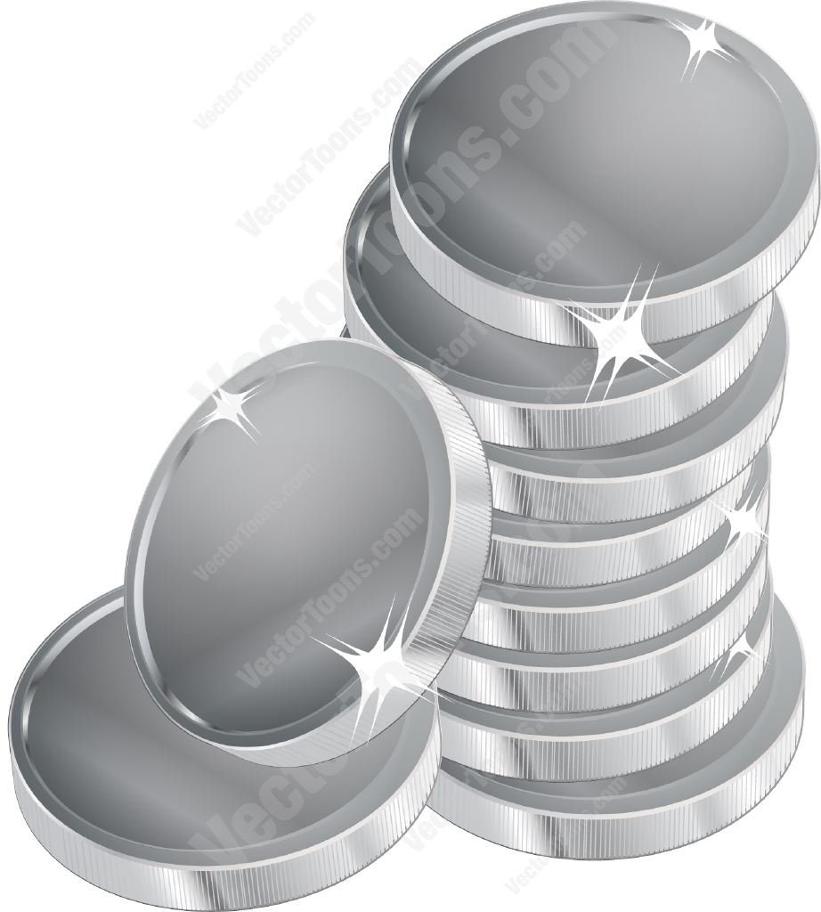Stack Of Silver Coins Cartoon Clipart