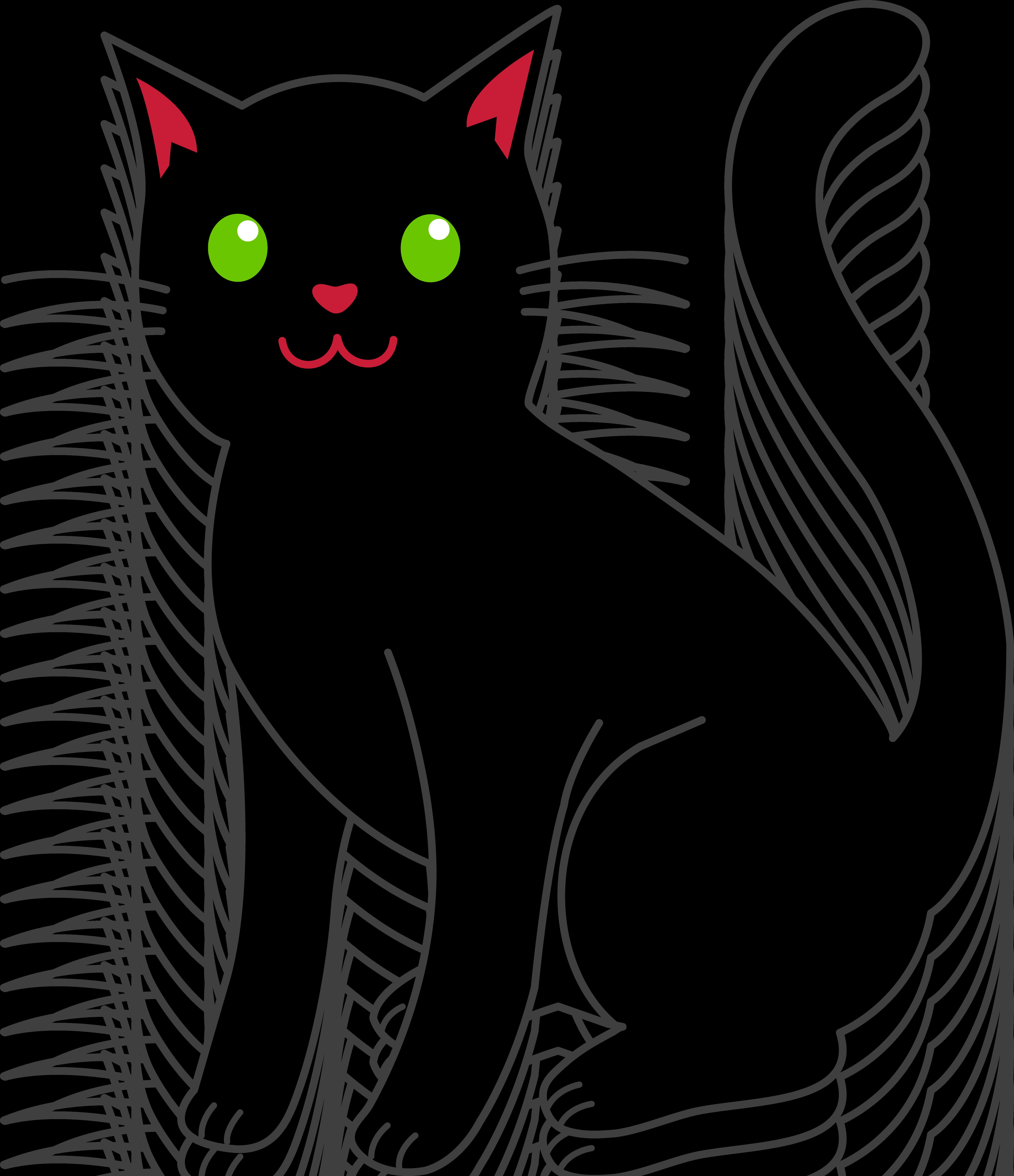 Simple Black Halloween Cat - Free Clip Art