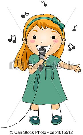 ... Singing Kid - Illustration of a Singing Girl