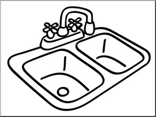 Clip Art: Basic Words: Sink Bu0026W Unlabeled I abcteach hdclipartall.com - preview 1