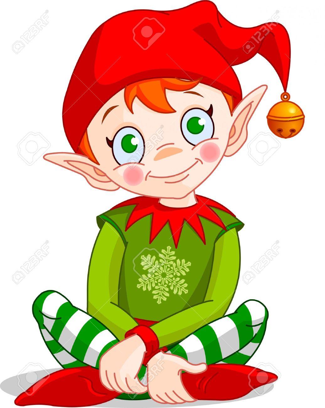 Sitting Christmas Elf Clipart #1