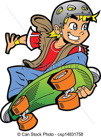 Boy Doing Skateboard Jump - csp14831758