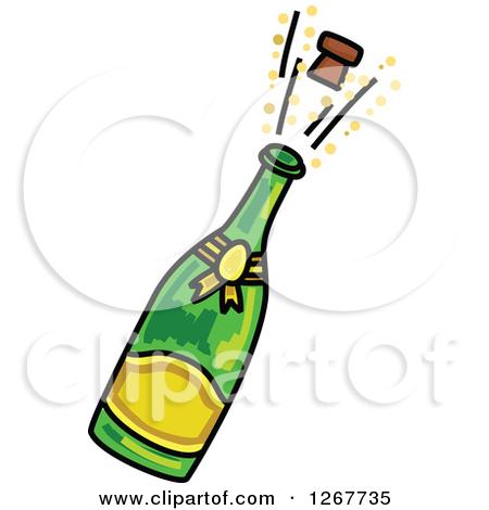Sketched Champagne Bottle .