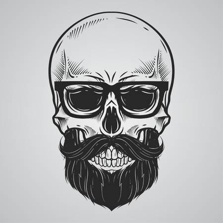Bearded skull illustration - Skull Clipart
