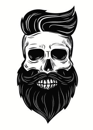 Bearded skull illustration on - Skull Clipart