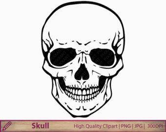 Skull clipart, human skull clip art, horror halloween illustration, scrapbooking, commercial use, digital instant download, jpg png 300dpi