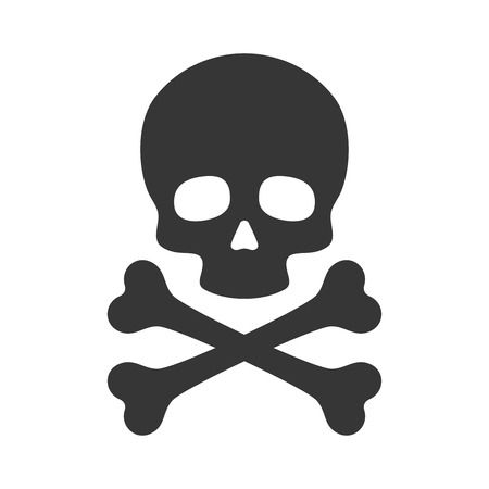 Skull and Crossbones Icon on White Background. Vector illustration