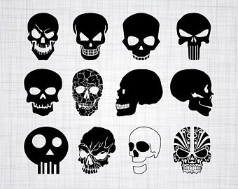 Skull SVG Bundle, Skull SVG, Skull Clipart, Skull Cut Files For Silhouette,  Skull Files for Cricut, Vector, Svg, Dxf, Png, Eps, Design