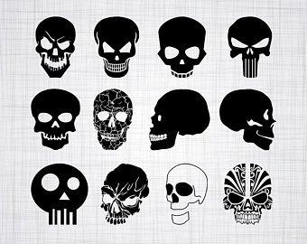Skull SVG Bundle, Skull SVG, Skull Clipart, Skull Cut Files For Silhouette,  Skull Files for Cricut, Vector, Svg, Dxf, Png, Eps, Design