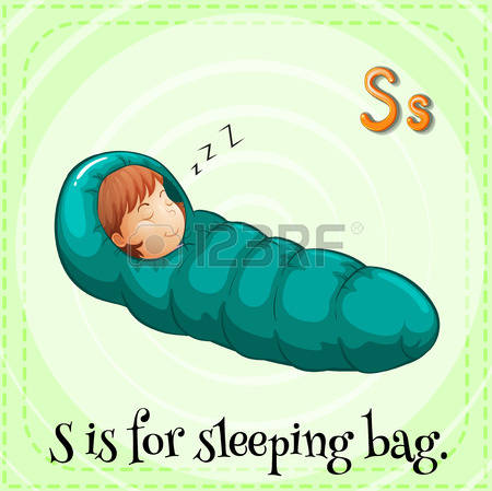 sleeping bag: Illustration of a letter s is for sleeping bag