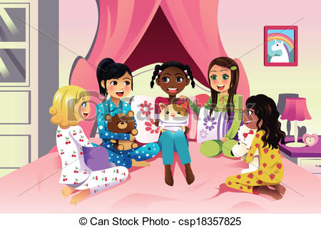 A vector illustration of multi ethnic girls having a sleepover