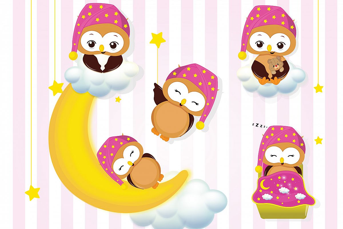 Girl owls sleepover party graphics, Girl owls clipart set example image 1