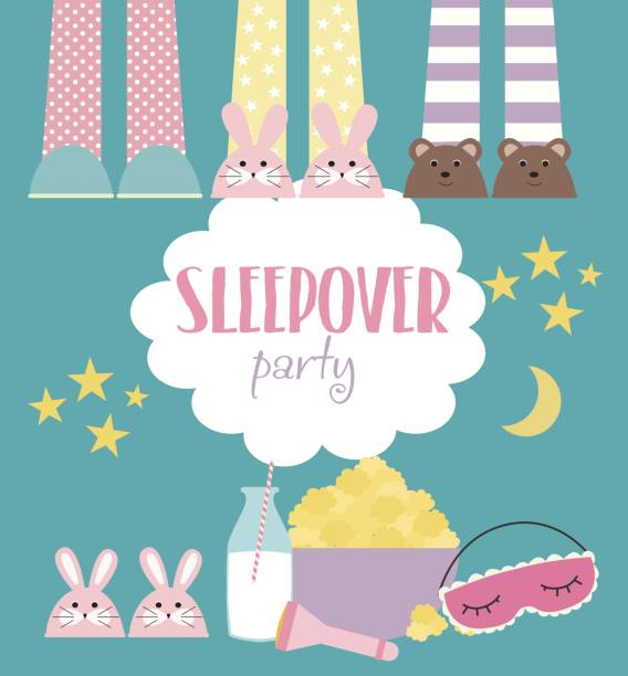 Sleepover invitation card with cute elements vector art illustration