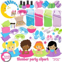 Slumber Party Clipart, Sleep Over Clipart, Girls Spa Night Clipart Package,  Makeover Party Clipart, Commercial Use, AMB-338