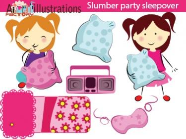 Sleepover Pink Girls Clipart Meylah375