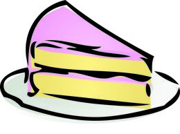 ... Slice of cake - Illustration of a cake with pink icing.