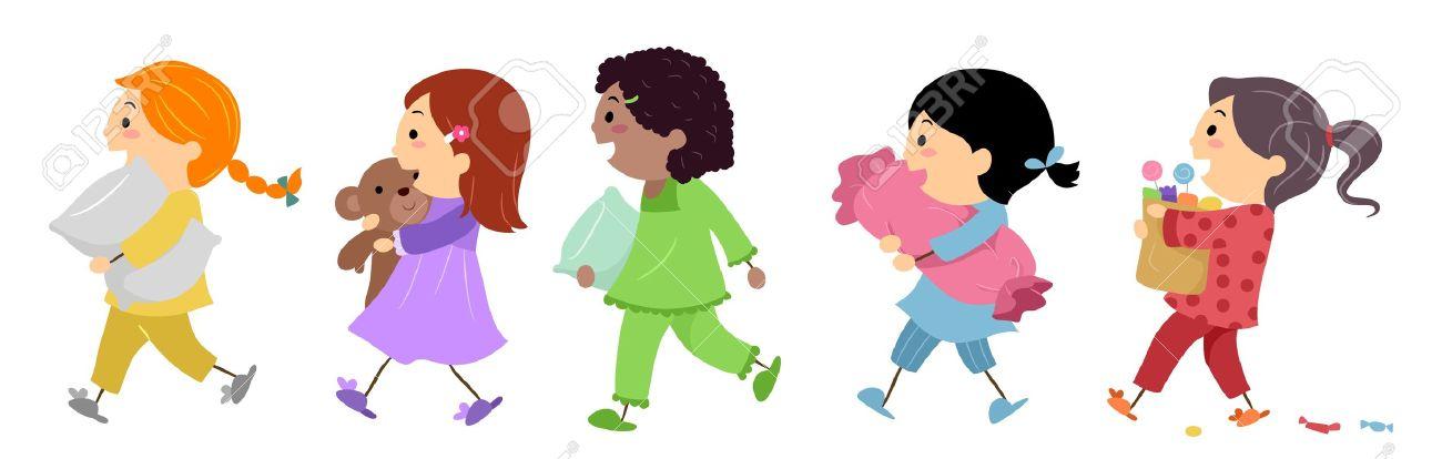 slumber party illustration. Illustration of Kids Going to .