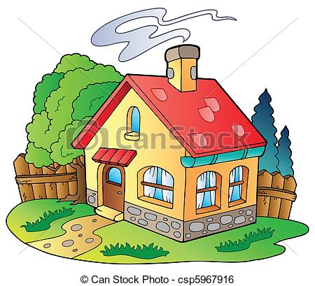 ... Small family house - vector illustration.